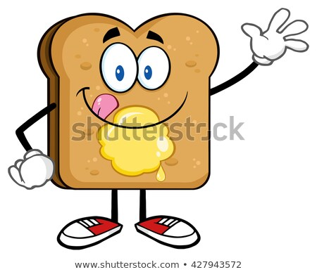 Happy Toast Bread Cartoon Character Licking His Lips With Butter Waving Stock photo © hittoon