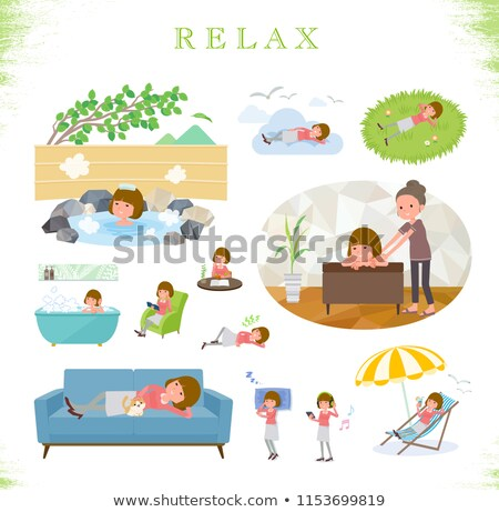 A set of women about relaxing.There are actions such as vacatio Stock photo © toyotoyo