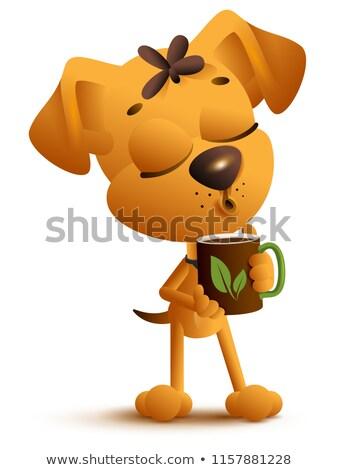 Citromsárga vicces kutya bögre italok fekete Stock fotó © orensila