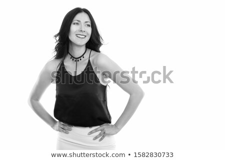 portrait of pensive businesswoman in black skirt smiling Stock photo © feedough