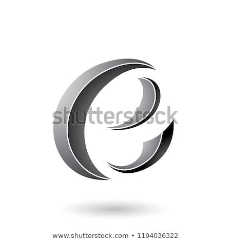 Gri çizgili hilâl biçim vektör Stok fotoğraf © cidepix