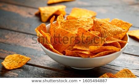 Tazón maíz chips chile tiro Foto stock © dash
