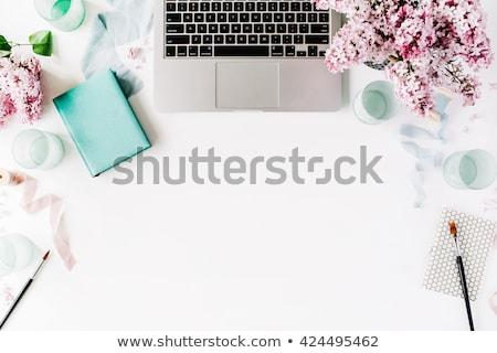Ev ofis Çalışma alanı mavi boş defter çiçekler Stok fotoğraf © neirfy