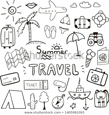 Airplane ticket hand drawn outline doodle icon. Stock photo © RAStudio