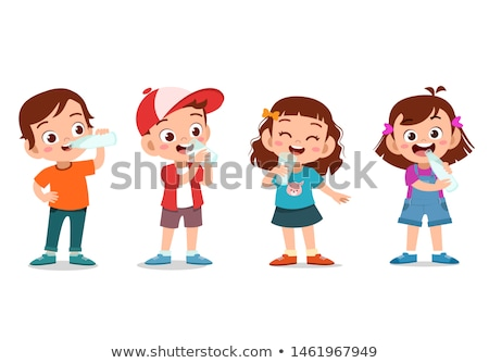 little girl child drink milk vector isolated illustration stock photo © pikepicture
