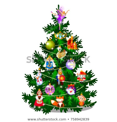 Sketch With Cute Christmas Tree With New Year And Christmas Decorations, Garland And Baubles. Sample Stock photo © Lady-Luck