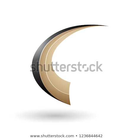 Black and Beige Dynamic Flying Letter C Vector Illustration Stock photo © cidepix