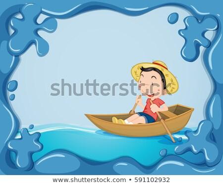 Frame sjabloon jongen roeien boot illustratie Stockfoto © colematt