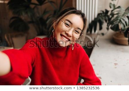 Retrato suéter sombrero azul Foto stock © deandrobot
