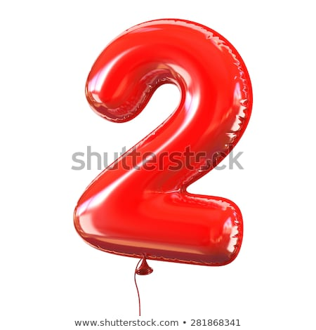 Red glossy font Number 2 TWO 3D Stock photo © djmilic