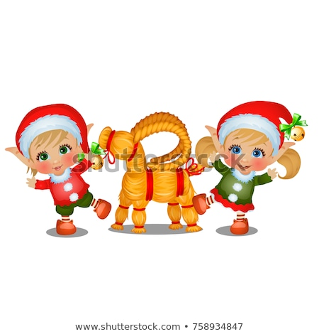 Set of girl and boy Santas helpers with straw sheep isolated on white background. The attributes of  Stock photo © Lady-Luck