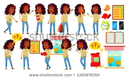 indian girl kid poses set vector high school child hindu asian teenage book workspace board stock photo © pikepicture
