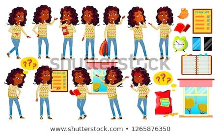 Indiai lány gyerek szett vektor középiskola Stock fotó © pikepicture