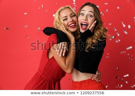 счастливым молодые друзей женщины Постоянный изолированный Сток-фото © deandrobot
