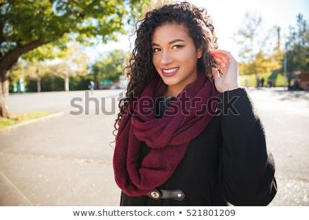 güzel · bir · kadın · uzun · kahverengi · kıvırcık · saçlı · portre · güzel - stok fotoğraf © deandrobot