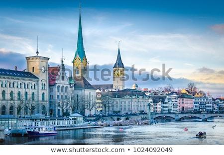 rivier · Zürich · Zwitserland · kerk · water - stockfoto © lightpoet