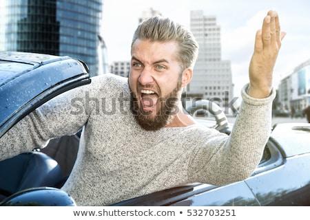 Stockfoto: Mad · bestuurder · auto · gezicht · man · grappig