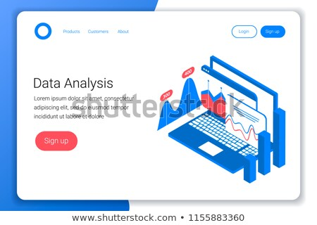 Isometric flat vector landing page template of visual data marketing strategy. Stock photo © TarikVision