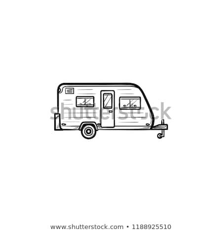 carro · caravana · esboço · ícone · teia · móvel - foto stock © rastudio