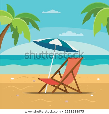 beach scene with seat and umbrella stock photo © colematt
