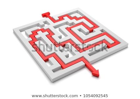 Rood pijl uit labyrint 3d illustration witte Stockfoto © make