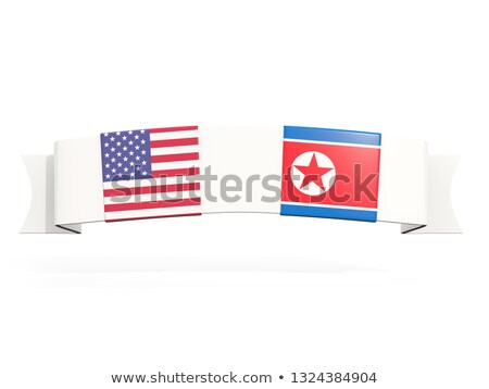 banner with two square flags of united states and north korea stock photo © mikhailmishchenko