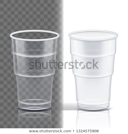 Stock photo: Plastic Cup Transparent Vector. Cafe Cutlery. Drink Mug. Disposable Tableware Clear Empty Container.
