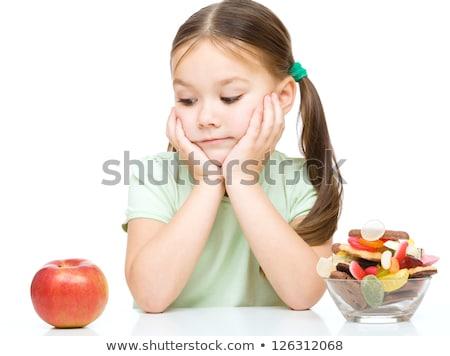Stock fotó: Lány · alma · édes · illusztráció · nő · egészség