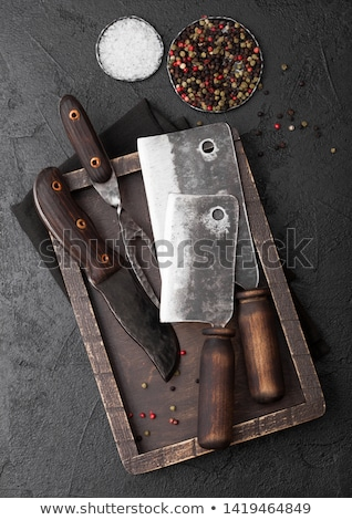 klasszikus · hús · kés · vágódeszka · fekete · kő - stock fotó © denismart