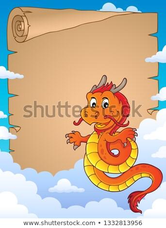 Китайский · дракон · пергаменте · бумаги · облака · облаке · китайский - Сток-фото © clairev
