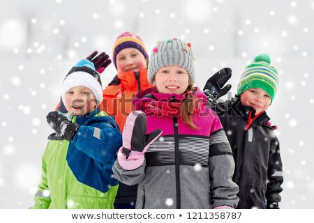 ストックフォト: 幸せ · 女の子 · 手 · 屋外 · 冬