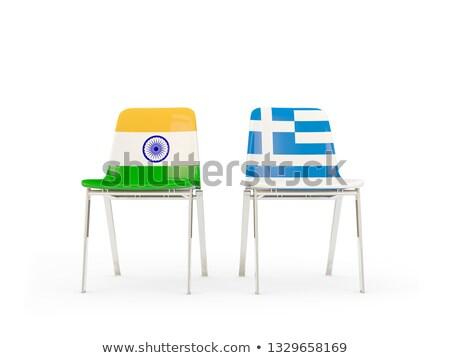 Dwa krzesła flagi Indie Grecja odizolowany Zdjęcia stock © MikhailMishchenko