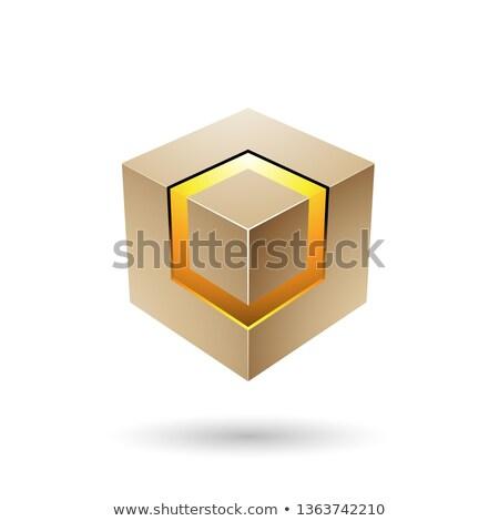 Bege cubo núcleo vetor ilustração Foto stock © cidepix