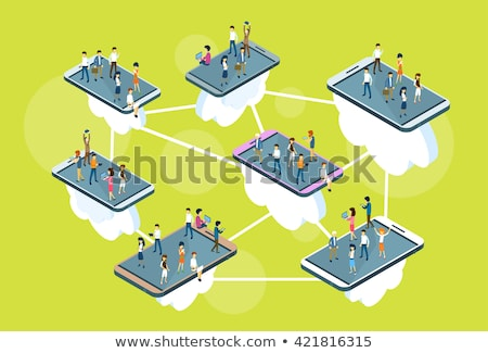 Businesswoman with mobile phone isometric 3D illustration. Stock photo © RAStudio