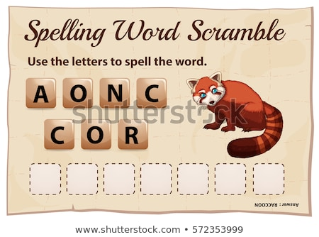 Spelling word scramble game template with word raccoon Stock photo © colematt