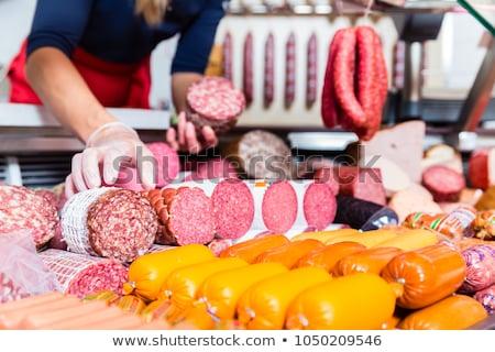 vrouw · slager · winkel · worst · handen - stockfoto © kzenon