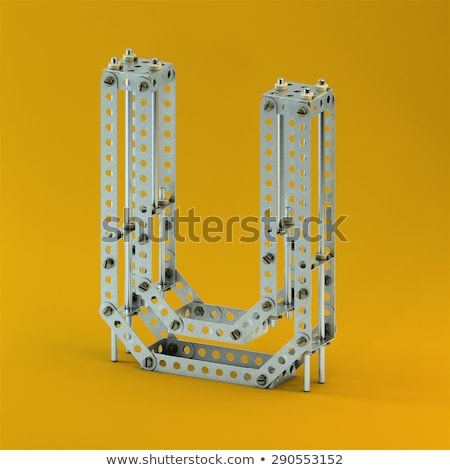 rusty metal font letter u 3d stock photo © djmilic