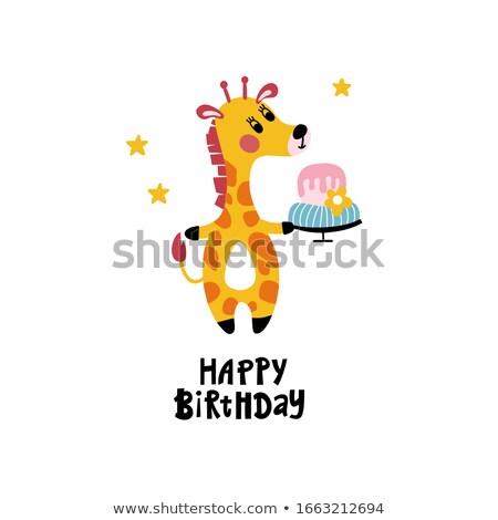 Giraffe partij sjabloon illustratie gelukkig achtergrond Stockfoto © bluering