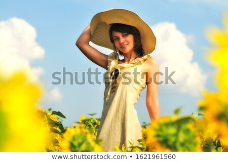 девушки · Hat · бежевый · платье · посмотреть - Сток-фото © ElenaBatkova