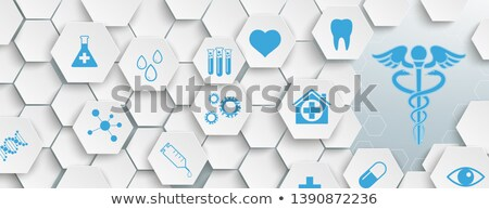white hexagon structure medical icons header stock photo © limbi007