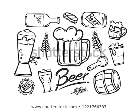 Hand Drawn Vintage Cup With Froth Beer Vector Stock photo © pikepicture