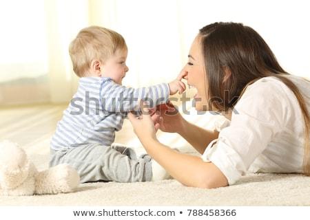 Anya baba játszik mosolyog boldog család bent Stock fotó © dashapetrenko