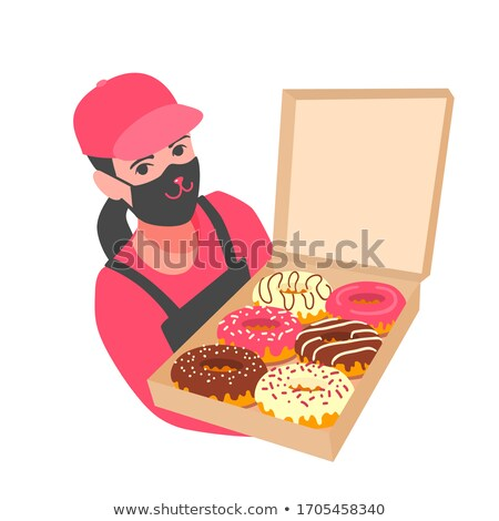 Delivery Woman Holding Boxes Of Donuts Stock photo © AndreyPopov