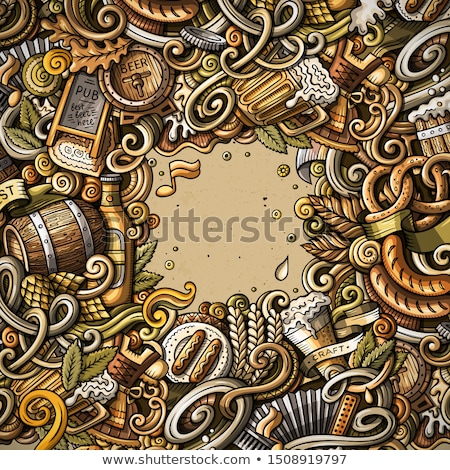 Cartoon doodles Beer fest illustration. Oktoberfest funny picture Stock photo © balabolka