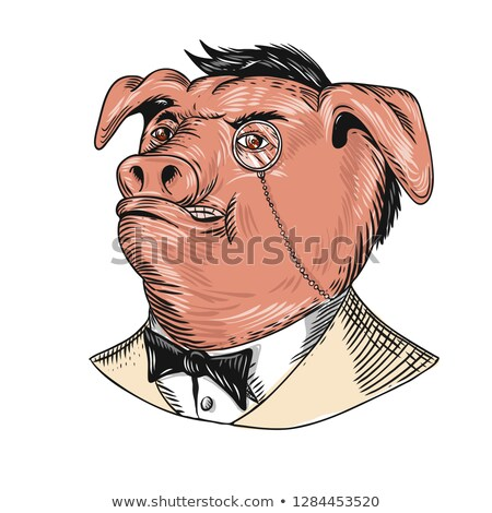 Stock photo: Aristocrat Pig Monocle Tuxedo Drawing
