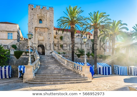 Korcula town gate and historic architecture view Stock photo © xbrchx