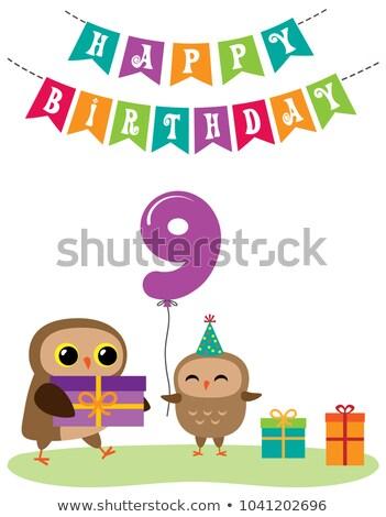 groet · sjabloon · cute · kinderen · verjaardagsfeest · cartoon - stockfoto © decorwithme