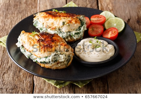 Poulet seins fromages tomate bourré Photo stock © furmanphoto