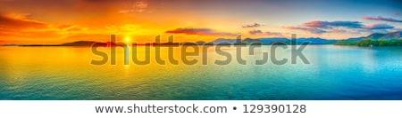 trópusi · tengerpart · hegyek · tájkép · trópusi · sziget · gyönyörű - stock fotó © galitskaya