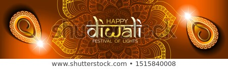 hindu happy diwali festival banner with two diya Stock photo © SArts
